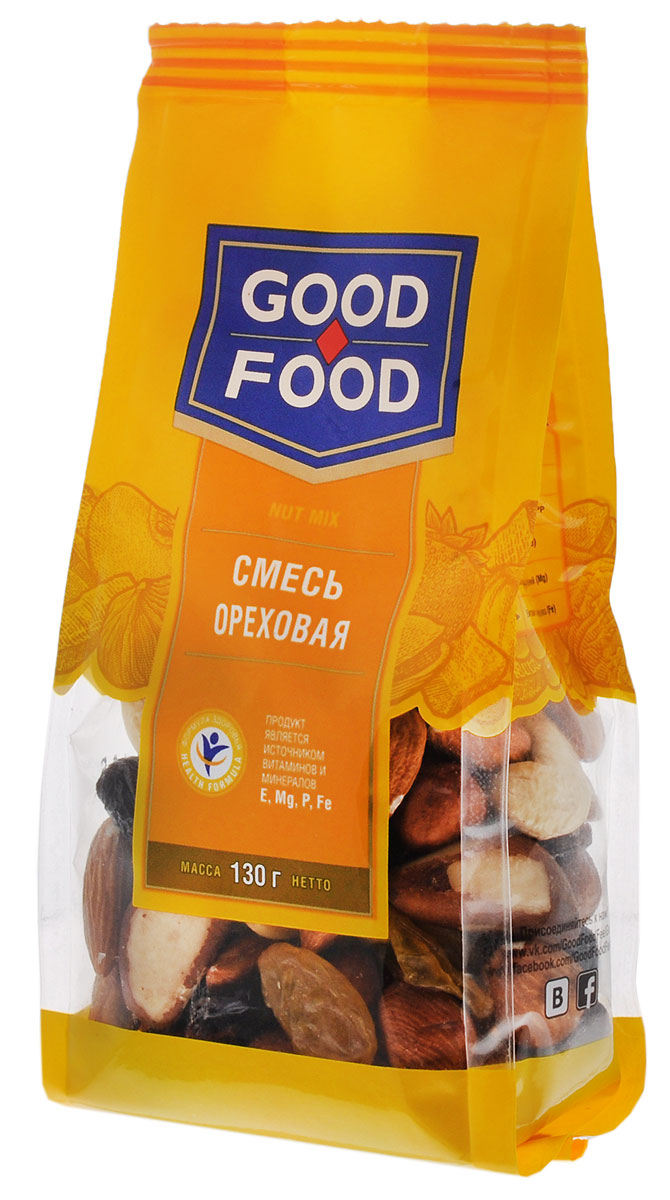 Good Food смесьореховая,130г good food кешьюжареный 200г