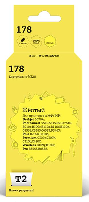 T2 IC-H320, Yellow картридж с чипом для HP Deskjet 3070A/Photosmart 5510/6510/7510/B110/C8583 (№178) картридж t2 ic h321 178xl аналог cb321 cn68 для hp deskjet 3070a photosmart 6510 7510 b110 c8583 черный с чипом