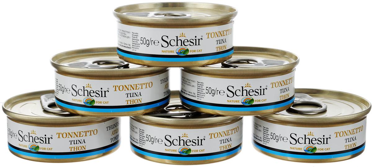 """Конcервы """"Schesir"""" для кошек, с тунцом, 50 г, 6 шт"""