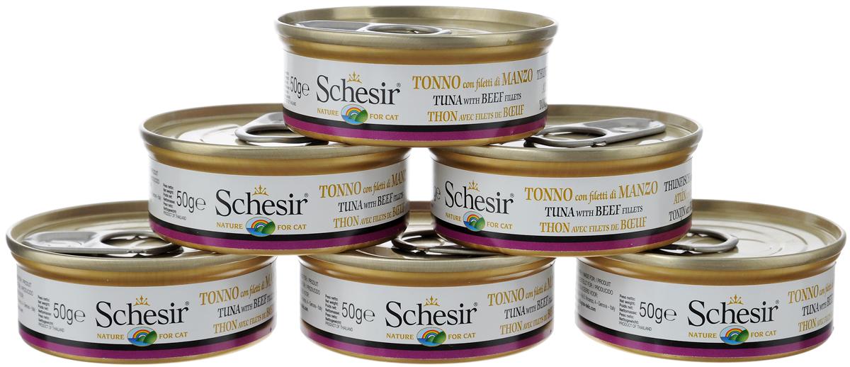 """Конcервы """"Schesir"""" для кошек, с тунцом и говядиной, 50 г, 6 шт"""