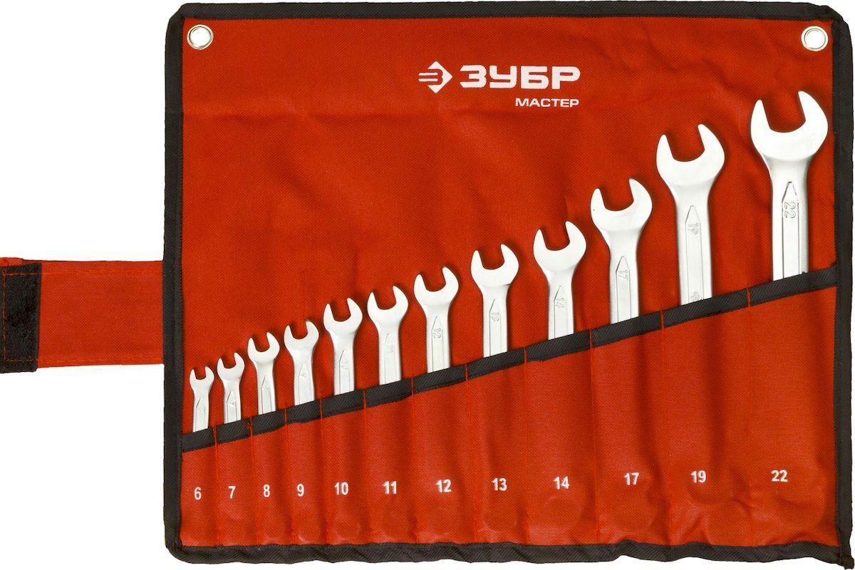 Набор комбинированных гаечных ключей Зубр Мастер, 6-22 мм, 12 шт27087-H12Комбинированные ключи Зубр Мастер изготовлены из высококачественной хромованадиевой стали с многоступенчатой закалкой для увеличения ресурса ключа, а также обладают надежным хромированным покрытием для защиты от коррозии. Рабочие характеристики соответствуют ГОСТ 2838. Применяется для работ с шестигранным крепежом. В комплекте чехол для переноски и хранения. Размер ключей: 6 мм, 7 мм, 8 мм, 9 мм, 10 мм, 11 мм, 12 мм, 13 мм, 14 мм, 17 мм, 19 мм, 22 мм. Рекомендуем!