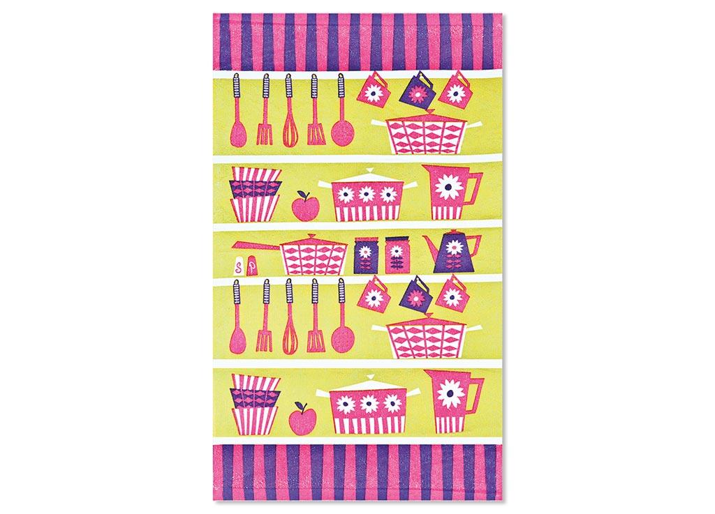 Салфетка Soavita Кухонная утварь, цвет: оливковый, фуксия, лиловый, 38 х 64 см мастеровой с кухонная утварь и техника