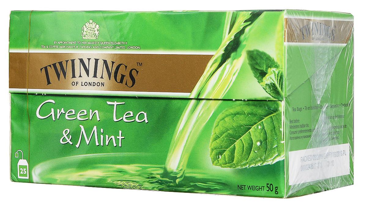 Twinings Green Tea & Mint зеленый чай c мятой в пакетиках, 25 шт070177063597Twinings Green Tea & Mint - смесь сортов зеленого чая и мяты. Всё о чае: сорта, факты, советы по выбору и употреблению. Статья OZON Гид