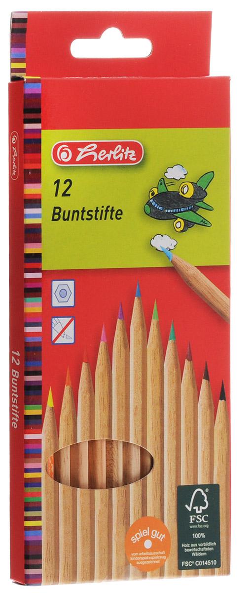 Herlitz Набор цветных карандашей 12 шт herlitz цветные карандаши herlitz 12 шт трехгранные