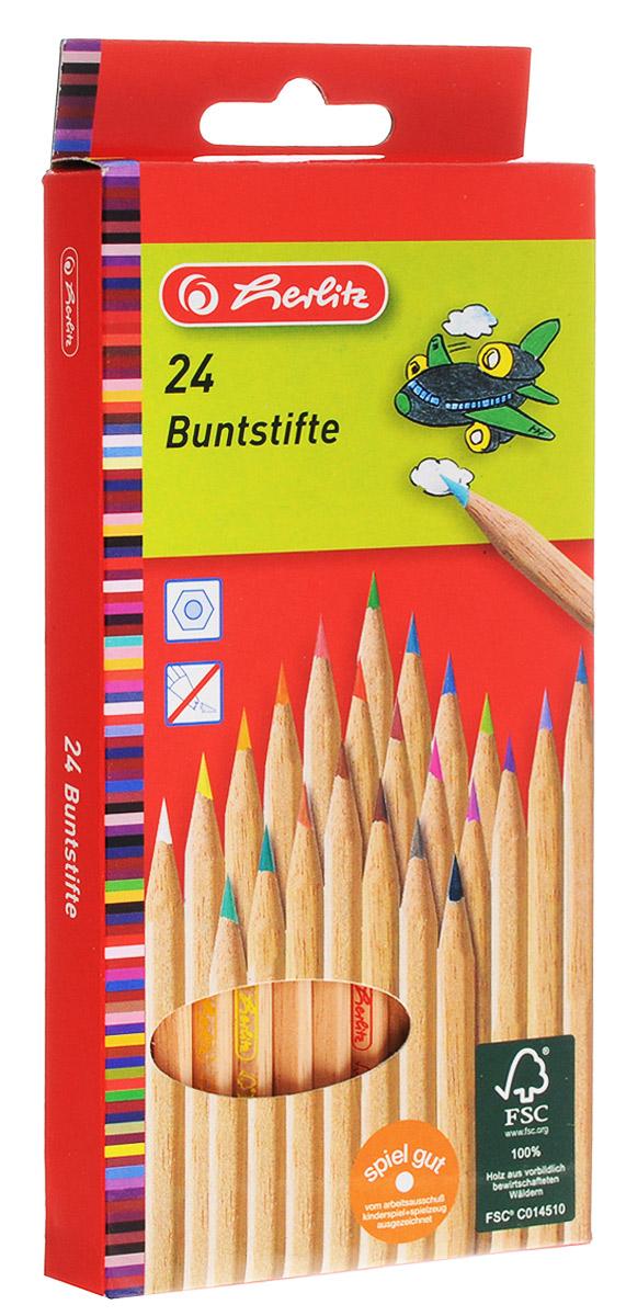 Herlitz Набор цветных карандашей 24 шт herlitz цветные карандаши herlitz 12 шт трехгранные