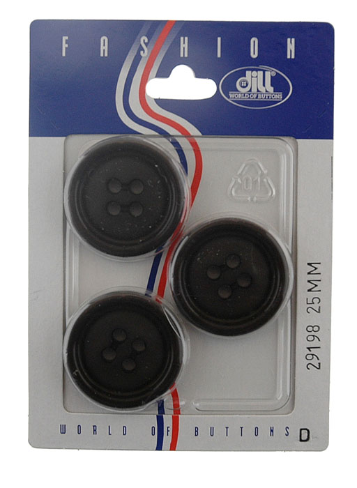 Фото - Пуговицы Dill, диаметр 25 мм, пластик, 3 шт. 029198/25-3 пуговицы dill цвет черный серый диаметр 23 мм 3 шт