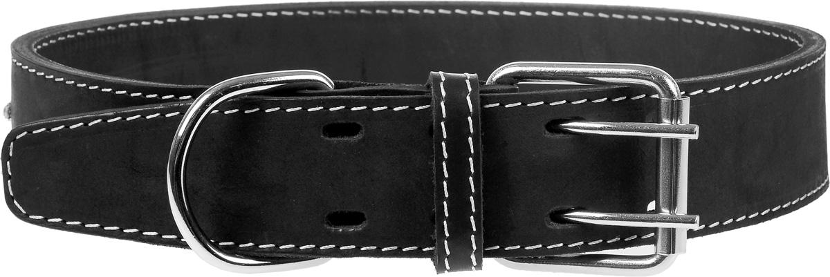 все цены на Ошейник для собак Каскад, двойной со стразами, ширина 4,5 см, диаметр 63-72 см, цвет: черный онлайн