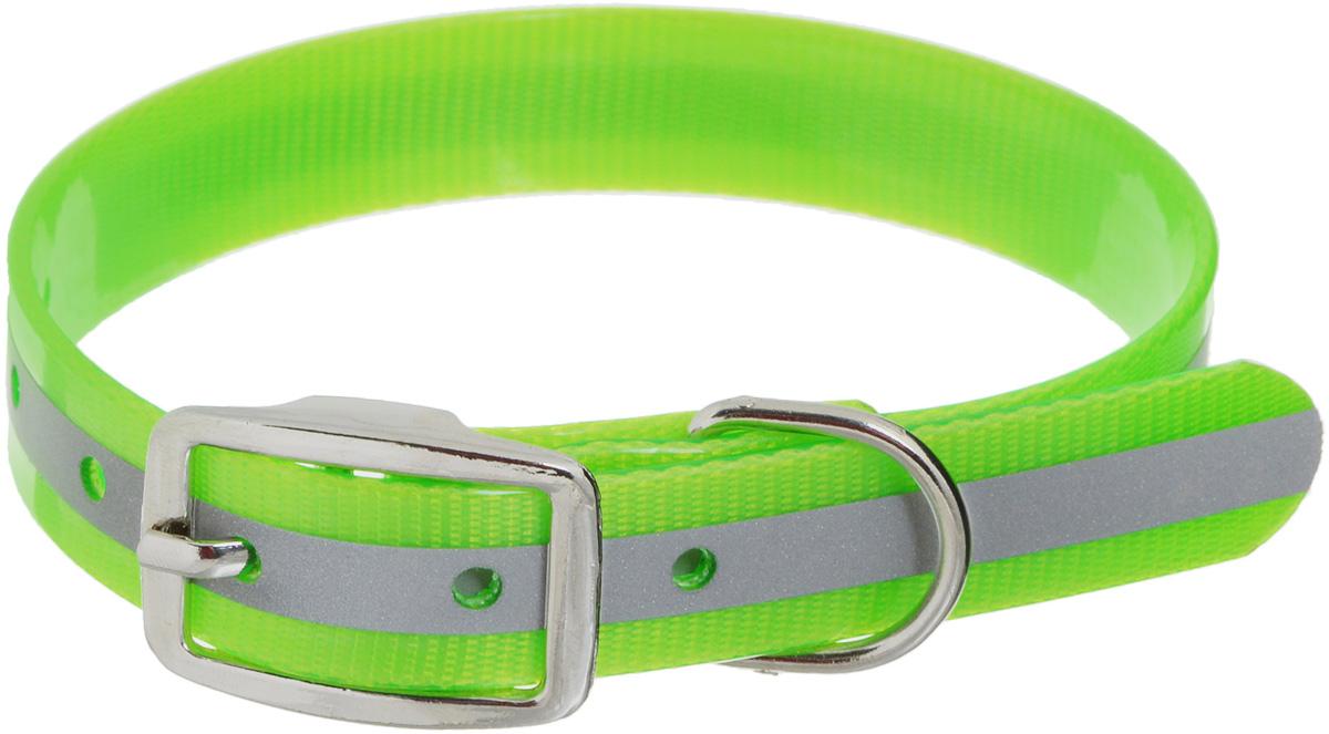 Ошейник для собак Каскад Синтетик, со светоотражающей полосой, цвет: салатовый, ширина 2 см, обхват шеи 25-35 см ошейник для собак каскад с косынкой цвет красный ширина 10 мм обхват шеи 22 35 см