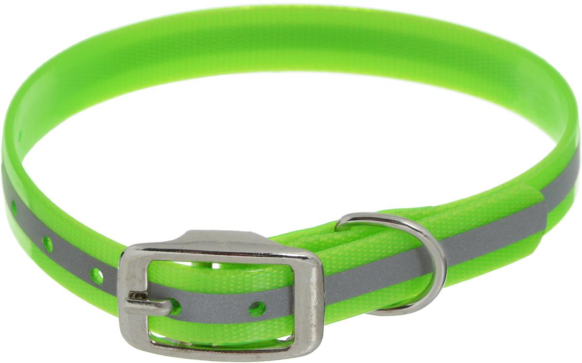 """Ошейник для собак Каскад """"Синтетик"""", со светоотражающей полосой, цвет: салатовый, ширина 1,5 см, обхват шеи 26-35 см"""