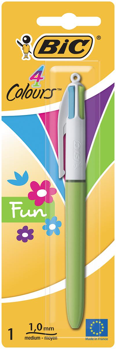 Bic Ручка шариковая Colours Fun 4 в 1 цвет корпуса салатовый ручка шариковая bic 4 colours fine автоматическая 0 36 мм 4 цвета