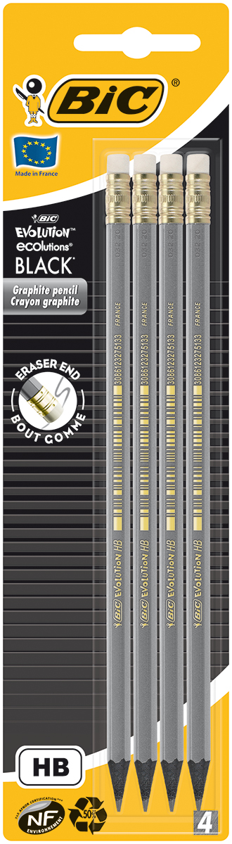 Bic Набор чернографитных карандашей Evolution Black с ластиком 4 шт карандаши bic kids