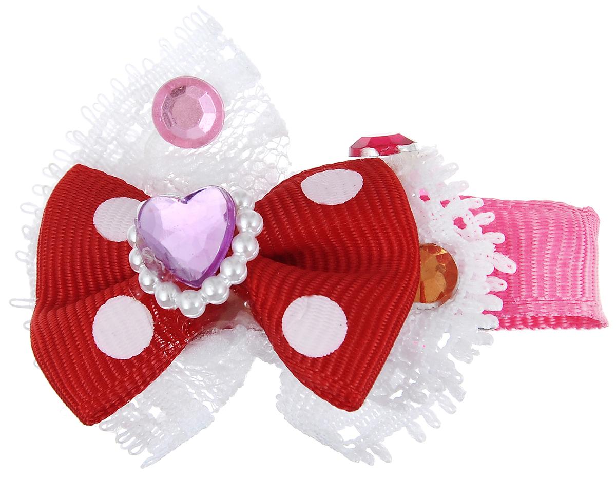 """Заколка для животных Каскад """"Бант"""", с сердечком, цвет: красный, розовый, белый, 6 х 4 см"""