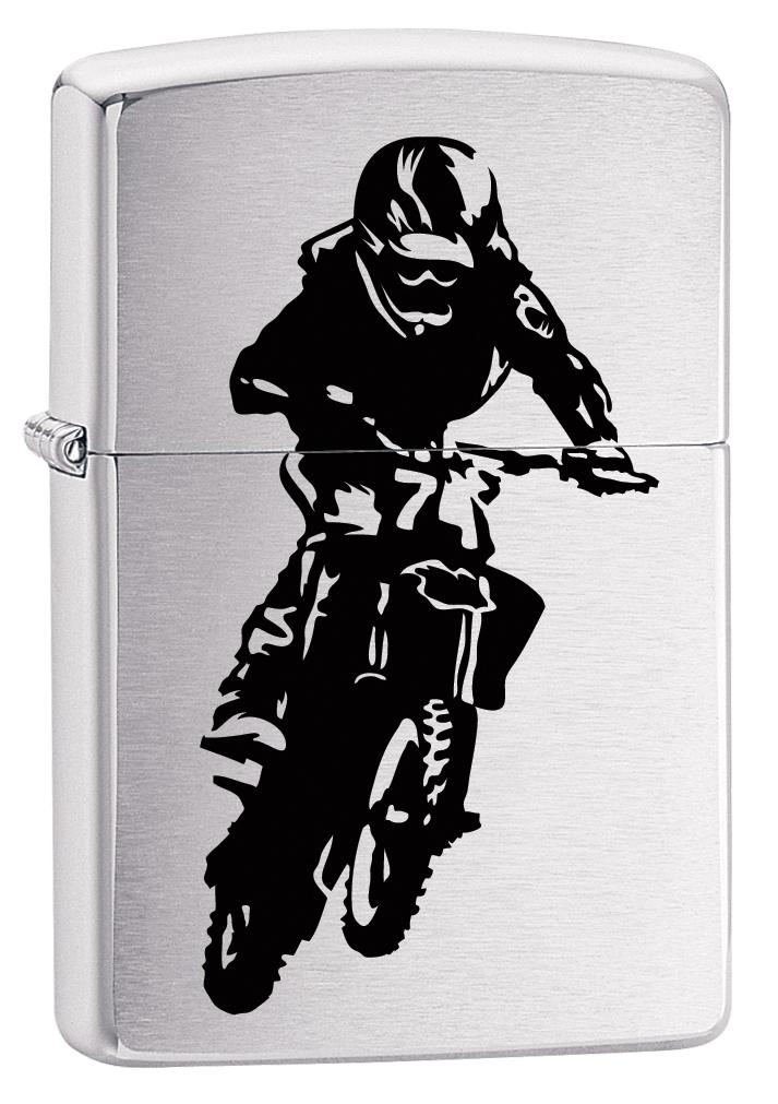 Зажигалка Zippo 200 Motorcross Rider, 3,6 х 1,2 х 5,6 см цена