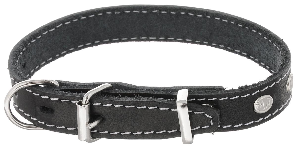Ошейник для собак Каскад Классика, двойной, цвет: черный, ширина 2 см, обхват шеи 27-35 см ошейник для собак каскад классика брезентовый ширина 2 см обхват шеи 31 39 см