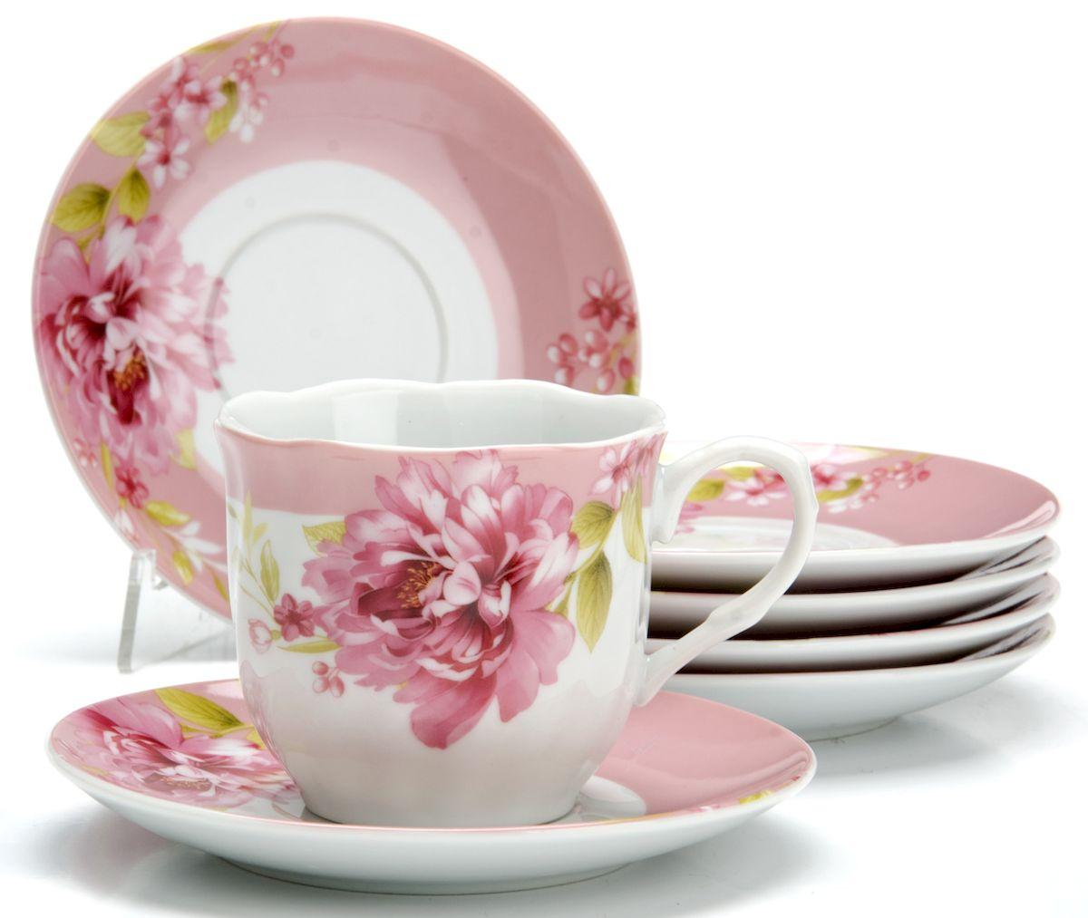 """Чайный сервиз Loraine """"Цветы"""", 220 мл, 12 предметов. 25915"""
