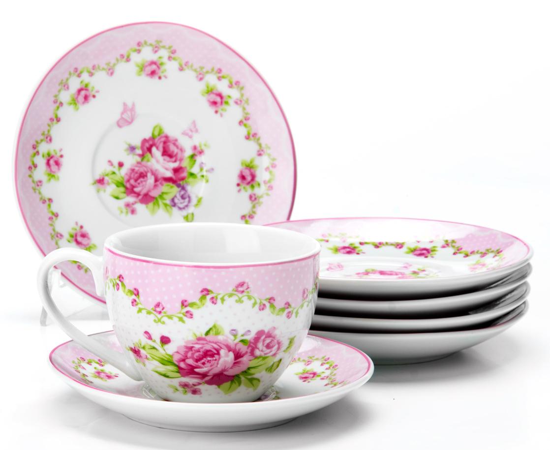 Фото - Чайный сервиз Loraine Цветы, 220 мл, 12 предметов. 25926 [супермаркет] jingdong геб scybe фил приблизительно круглая чашка установлена в вертикальном положении стеклянной чашки 290мла 6 z