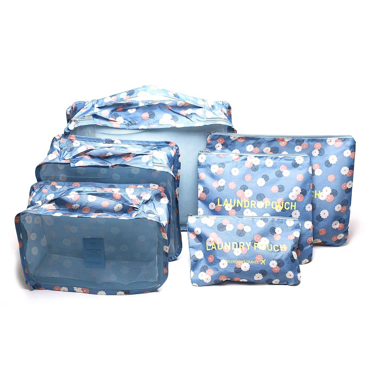 Набор органайзеров для багажа Homsu Цветок, цвет: синий, белый, розовый, 6 предметов набор органайзеров valiant vintage цвет бежевый 18 x 12 x 5 см 12 x 12 x 5 см vn s2p