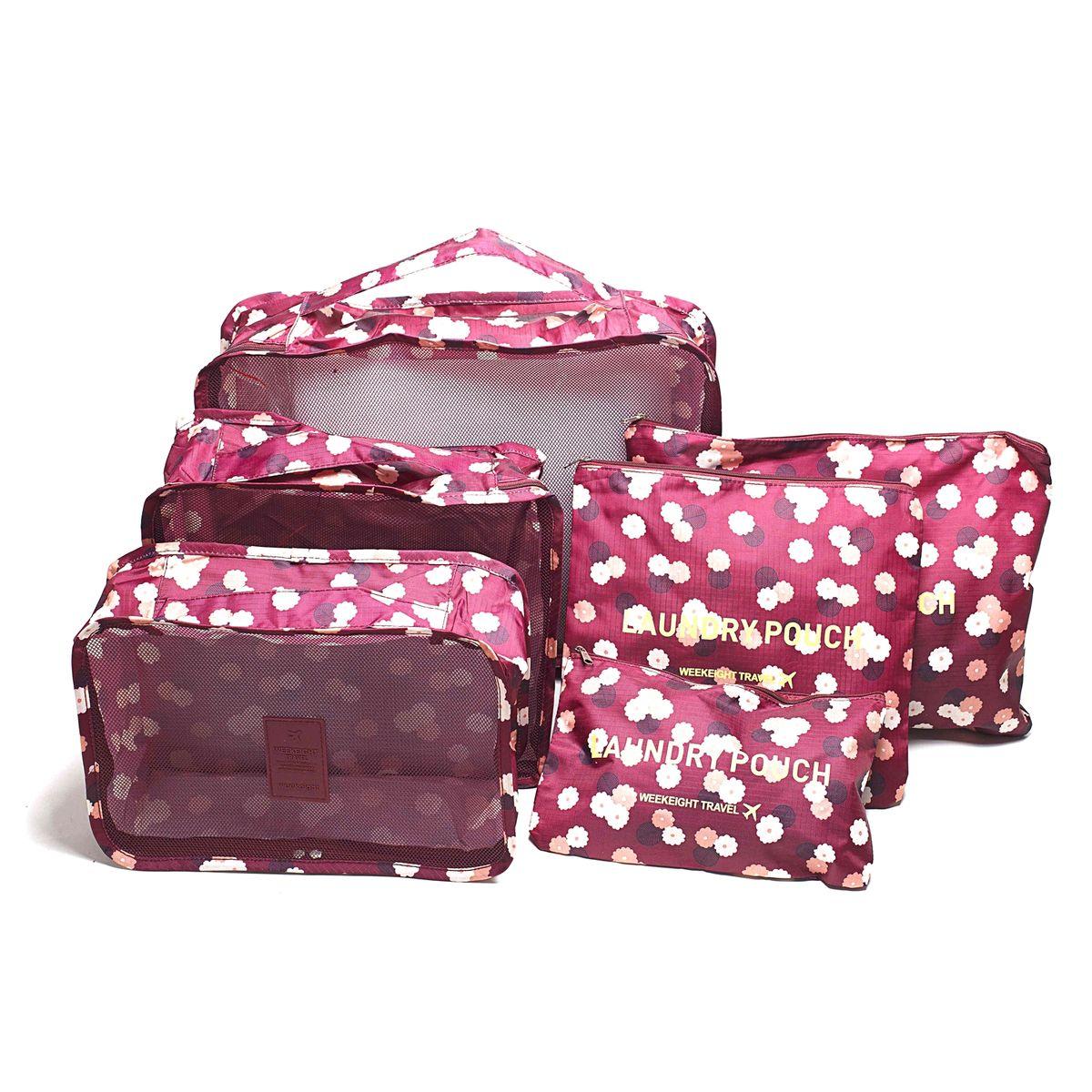 Набор органайзеров для багажа Homsu Цветок, цвет: бордовый, розовый, белый, 6 предметов набор органайзеров valiant vintage цвет бежевый 18 x 12 x 5 см 12 x 12 x 5 см vn s2p