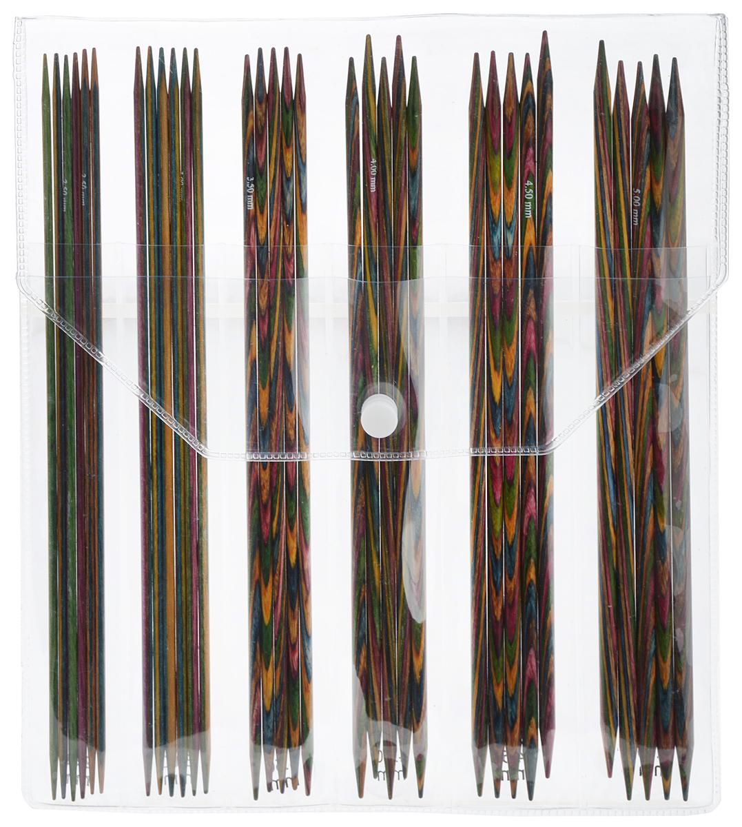 Набор чулочных спиц KnitPro Symfonie, 2,5-5,0 мм, 6 видов20631Набор KnitPro Symfonie состоит из 6 комплектов деревянных чулочных спиц разного диаметра и пластиковой сумки-чехла для их хранения. Спицы прочные, легкие, гладкие, удобные в использовании. Деревянные спицы предназначены для вязания чулок, шапочек, варежек, носков и других вещей. Вы сможете вязать для себя и делать подарки друзьям. Рукоделие всегда считалось изысканным, благородным делом. Работа, сделанная своими руками, долго будет радовать вас и ваших близких. Диаметр спиц: 2,5 мм; 3 мм; 3,5 мм; 4 мм; 4,5 мм; 5 мм. Длина спиц: 20 см. Рекомендуем!