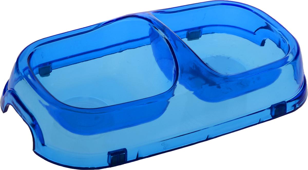 """Миска для животных """"Каскад"""", двойная, цвет: прозрачный, синий, 400 мл"""