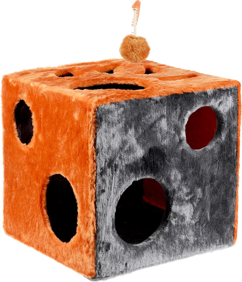 Домик для кошек ЗооМарк Кубик с лапкой, с игрушкой, цвет: оранжевый, серый, 42 х 42 х 42 см цена