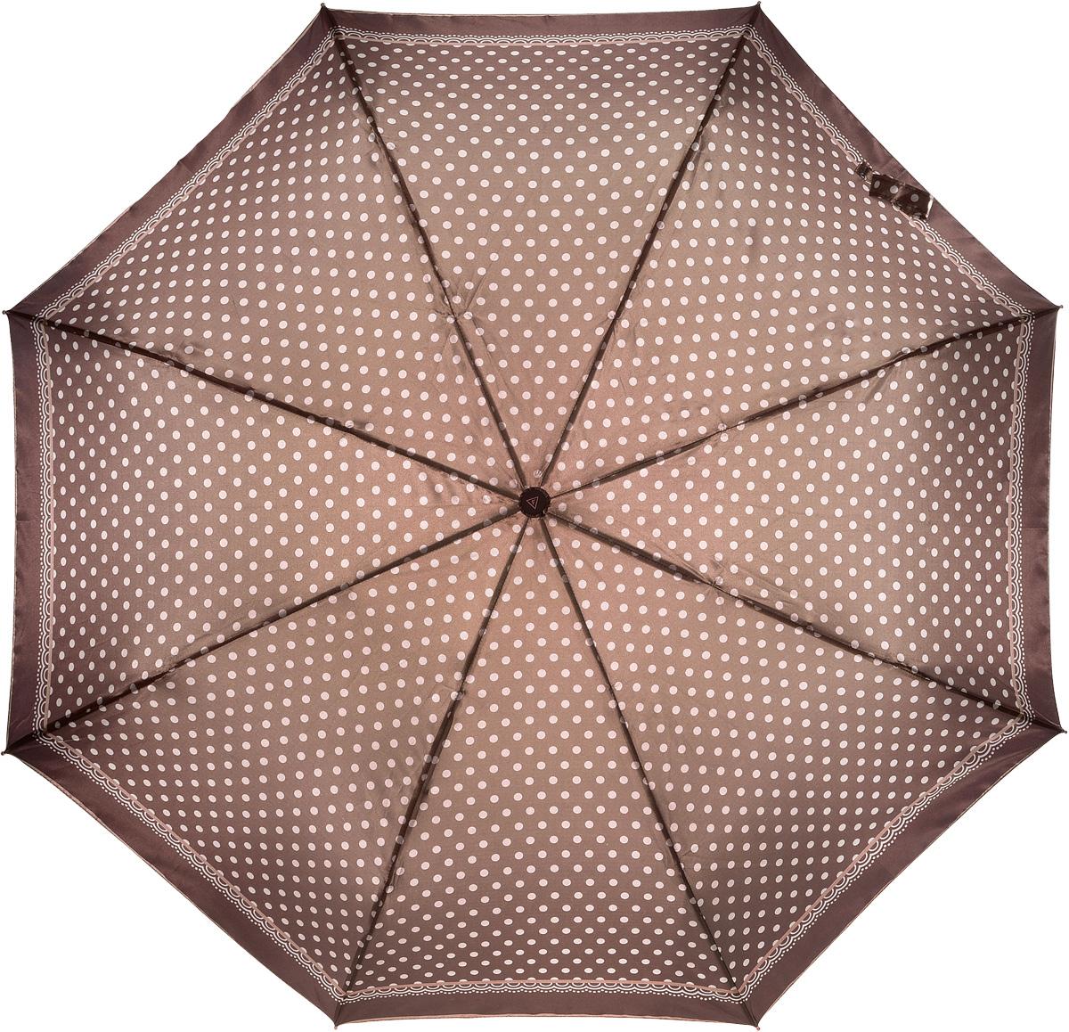 купить Зонт женский Fabretti, автомат, 3 сложения, цвет: коричневый. L-16107-19 по цене 1089 рублей