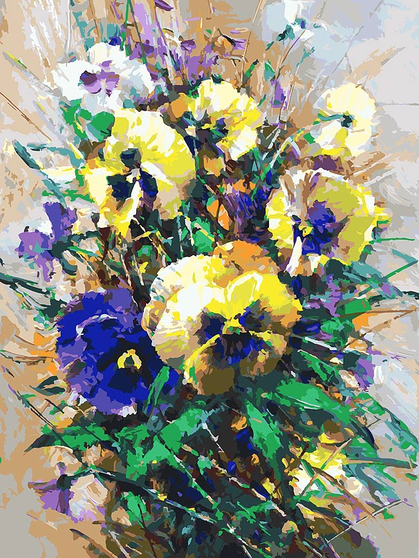 Живопись на холсте Белоснежка Букет с анютками, 30 х 40 см живопись на холсте букет маков 40 см х 50 см