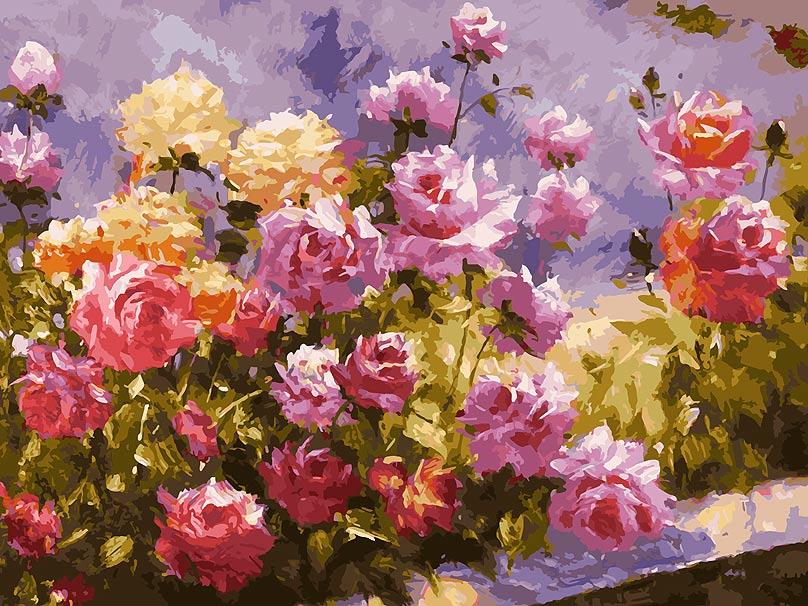 Живопись на холсте Белоснежка Букет роз, 30 х 40 см живопись на холсте букет маков 40 см х 50 см