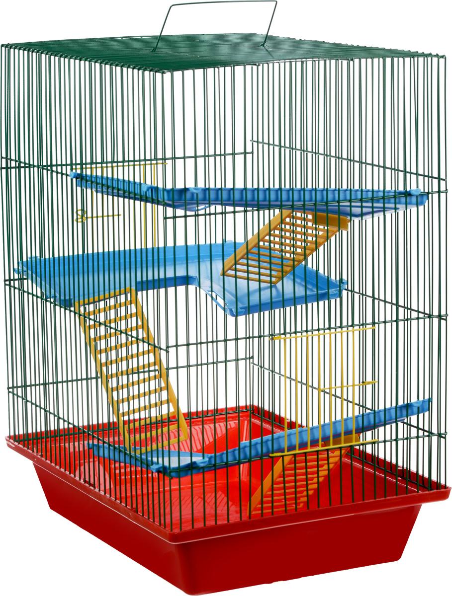 Клетка для грызунов ЗооМарк Гризли, 4-этажная, цвет: красный поддон, зеленая решетка, 41 х 30 х 50 см клетка для грызунов зоомарк гризли 4 этажная цвет красный поддон синяя решетка красные этажи 41 х 30 х 50 см