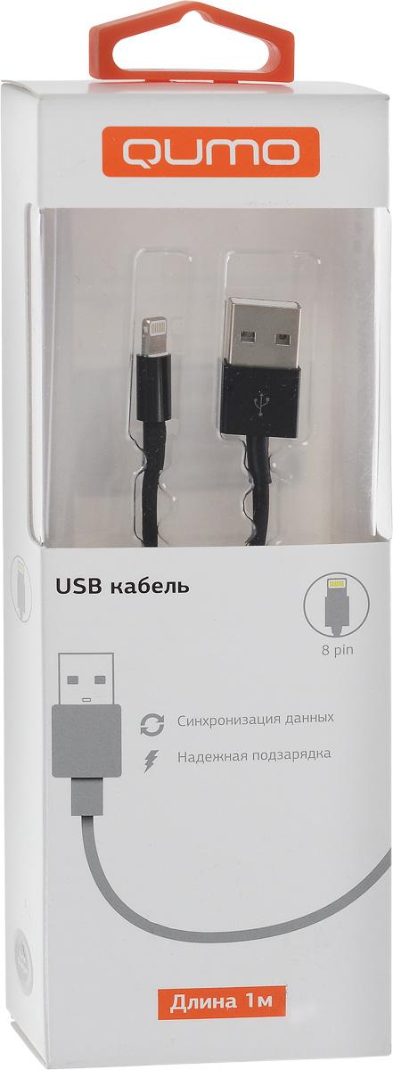 QUMO кабель USB-Apple 8pin круглый, Black (1 м) кабель partner usb 2 0 microusb apple 8pin 2 в 1 2 1 a 1 м