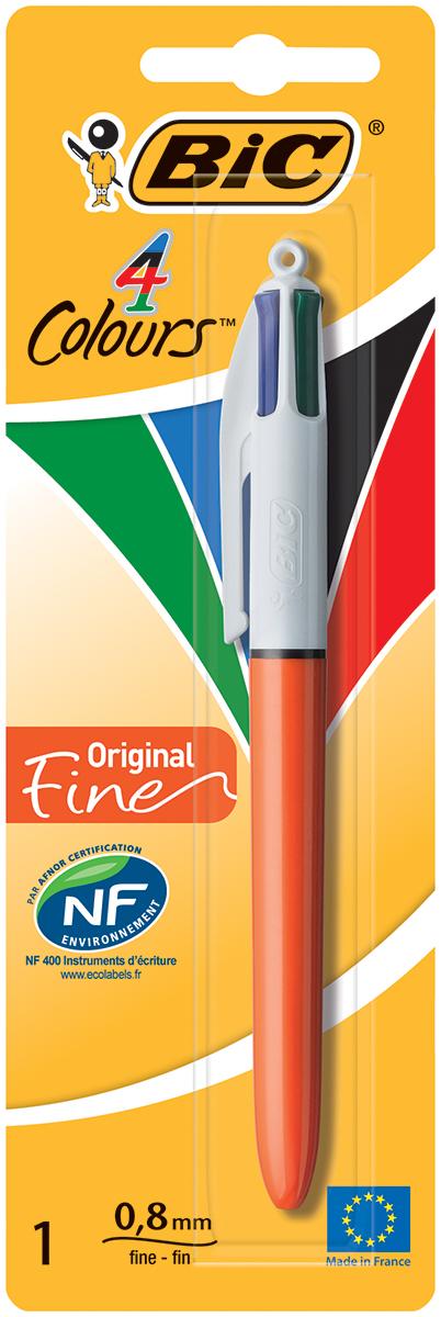 Bic Ручка шариковая Colours Fine 4 в 1 цвет корпуса оранжевый ручка шариковая bic 4 colours fine автоматическая 0 36 мм 4 цвета