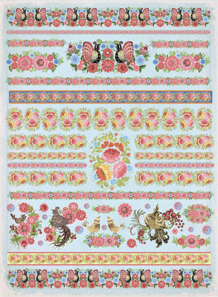 Рисовая бумага для декупажа Craft Premier Хохлома-голубая, А3 рисовая бумага для декупажа craft premier шебби розы a3