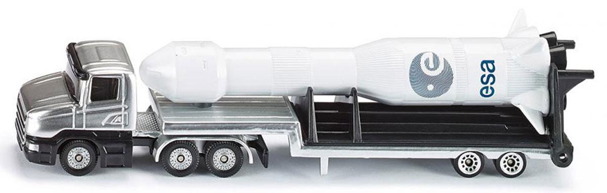 Siku Тягач с ракетой1614Тягач с ракетой Siku порадуют каждого ребенка!Изделия отличаются высокой степенью детализации и тщательной проработкой всех элементов. Прицеп можно легко отцепить от тягача, а ракету снять с прицепа. Тягач с прицепом и ракета выполнены из металла с элементами из пластика. Прорезиненные колеса имеют свободный ход.Игры с моделями способствуют развитию воображения, мышления, мелкой моторики рук и координации движений.