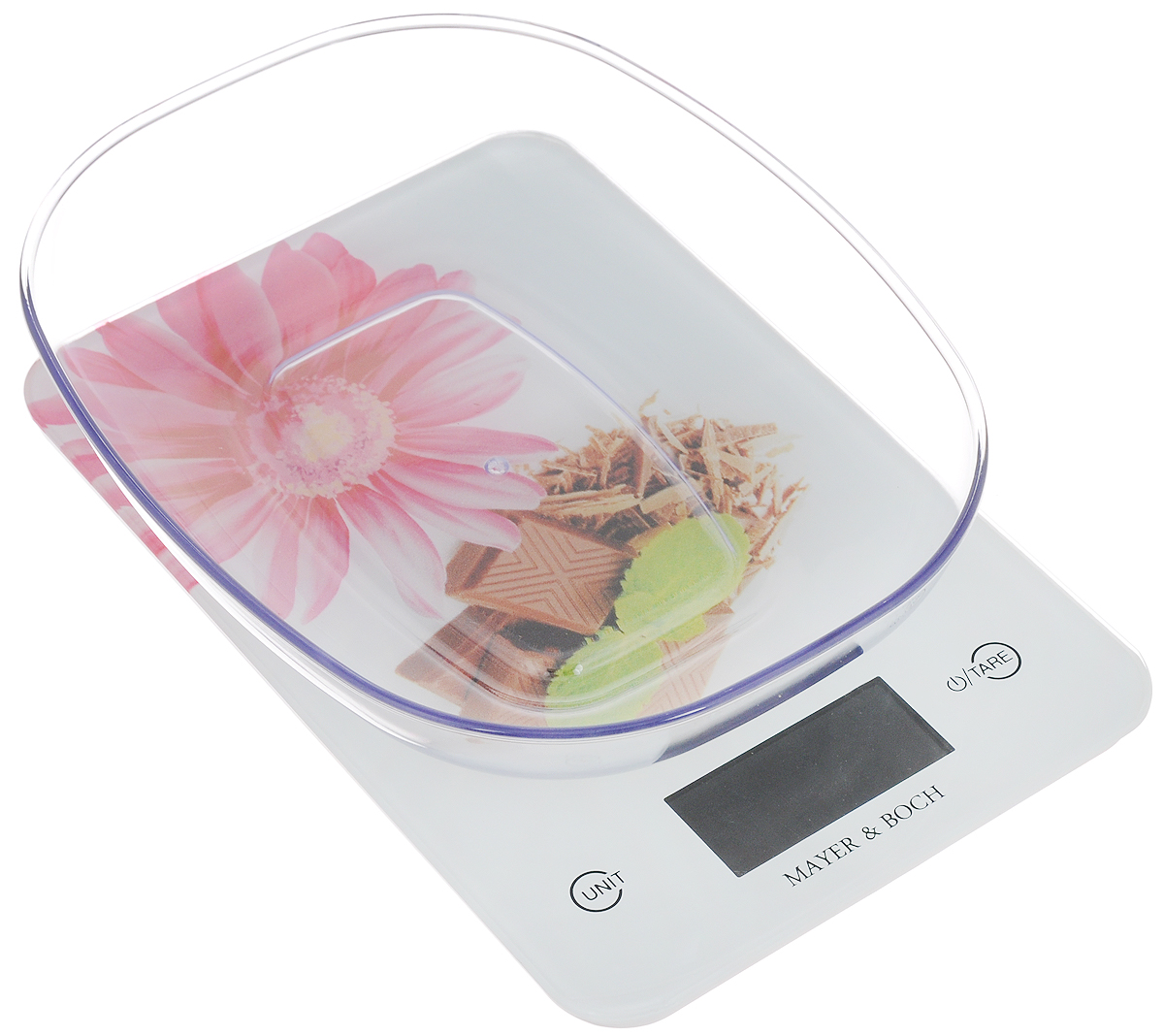Весы кухонные Mayer & Boch, с чашей, цвет: белый, розовый, коричневый, до 5 кг. 10960 весы mayer