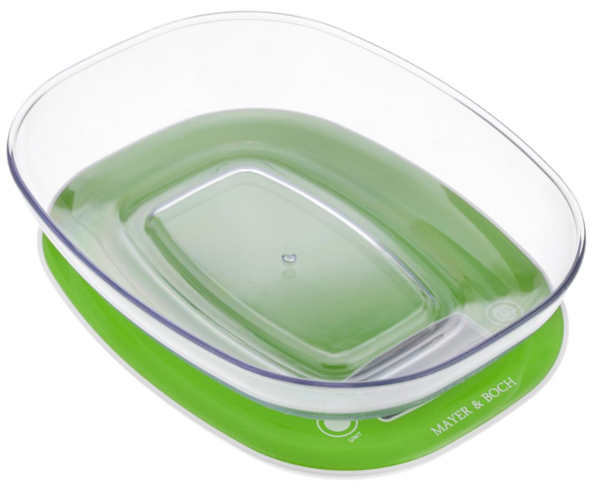Весы кухонные Mayer & Bosh, с чашей, цвет: зеленый, белый, до 5 кг. 10954 весы mayer
