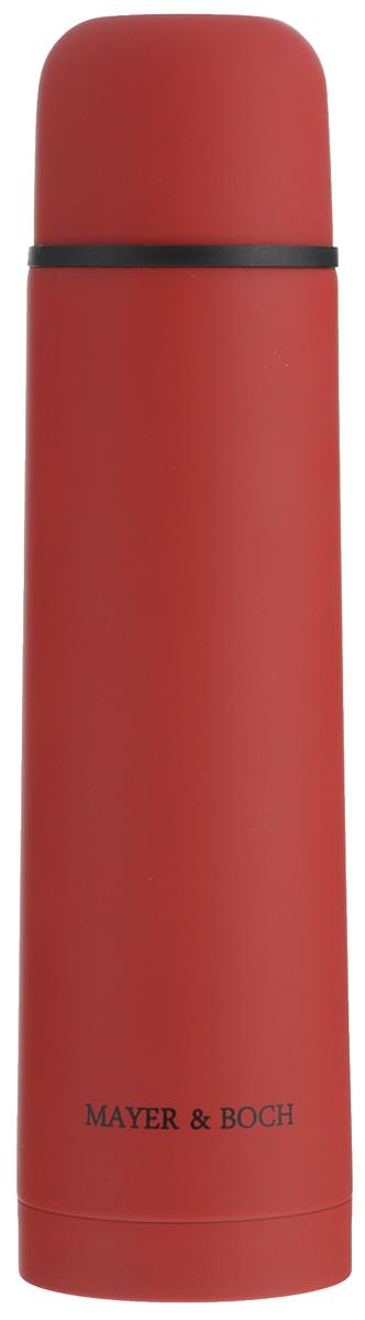 Термос Mayer & Boch, цвет: красный, 750 мл. 2589025890Термос Mayer & Boch выполнен из качественной нержавеющей стали, которая не вступает в реакцию с содержимым термоса и не изменяет вкусовых качеств напитка. Двойная стенка из нержавеющей стали сохраняет температуру на срок до 24-х часов. Вакуумный закручивающийся клапан предохраняет от проливаний, а удобная кнопка-дозатор избавит от необходимости каждый раз откручивать крышку. Крышку можно использовать как чашку. Цветное покрытие обеспечивает защиту от истирания корпуса. Данная модель термоса прочная, долговечная и в тоже время легкая. Стильный металлический термос понравится абсолютно всем и впишется в любой интерьер кухни. Не рекомендуется мыть в посудомоечной машине. Диаметр горлышка: 4,4 см. Диаметр основания термоса: 7,5 см. Высота термоса: 28,5 см. Рекомендуем!