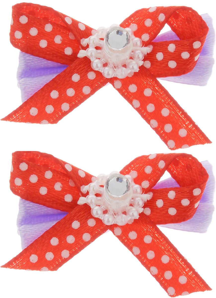 Резинка для животных Каскад Бант с украшением, цвет: сиреневый, красный, 4 х 2,5 см, 2 шт щетка для животных каскад на руку цвет красный 12 5 х 7 5 см