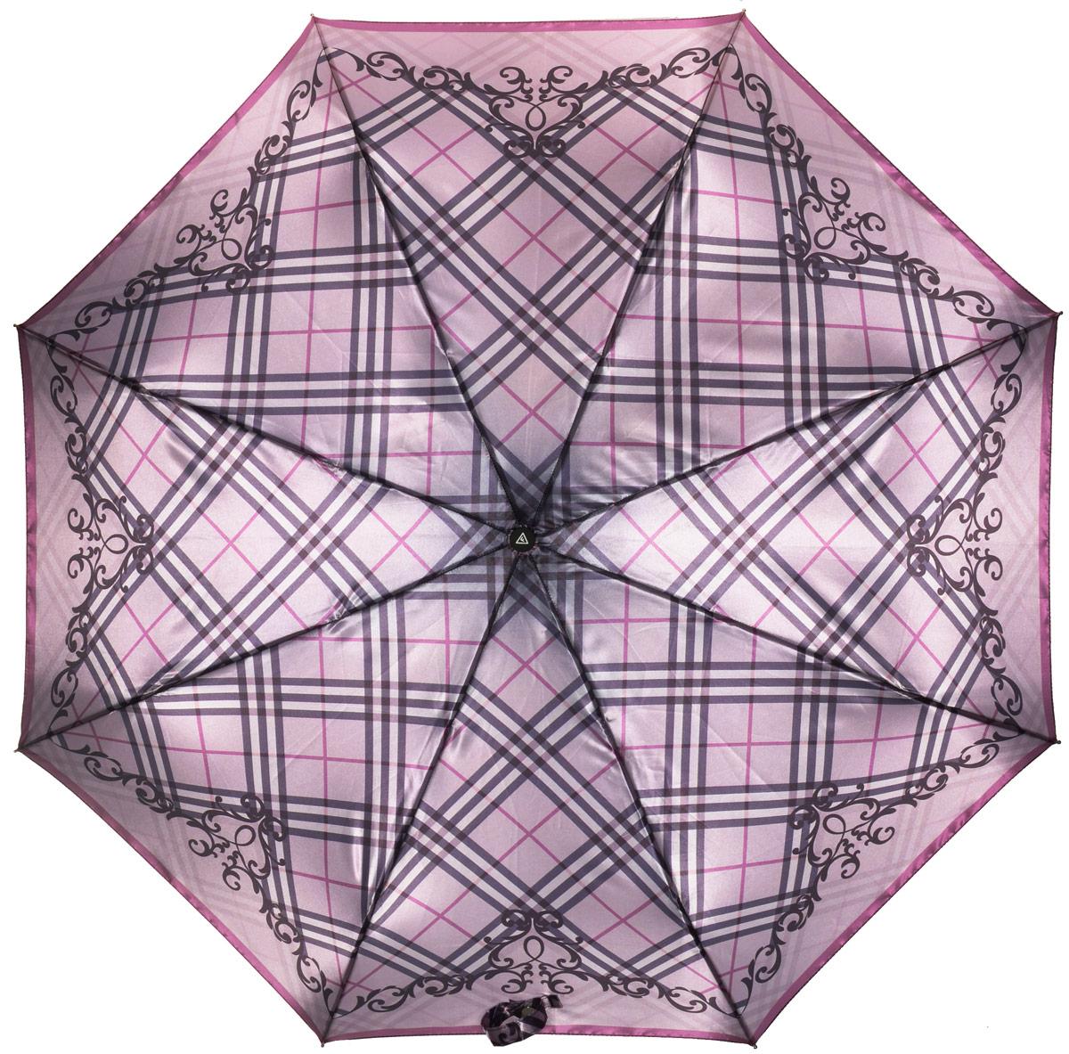 купить Зонт женский Fabretti, автомат, 3 сложения, цвет: лиловый, серый. L-16106-8 по цене 1089 рублей
