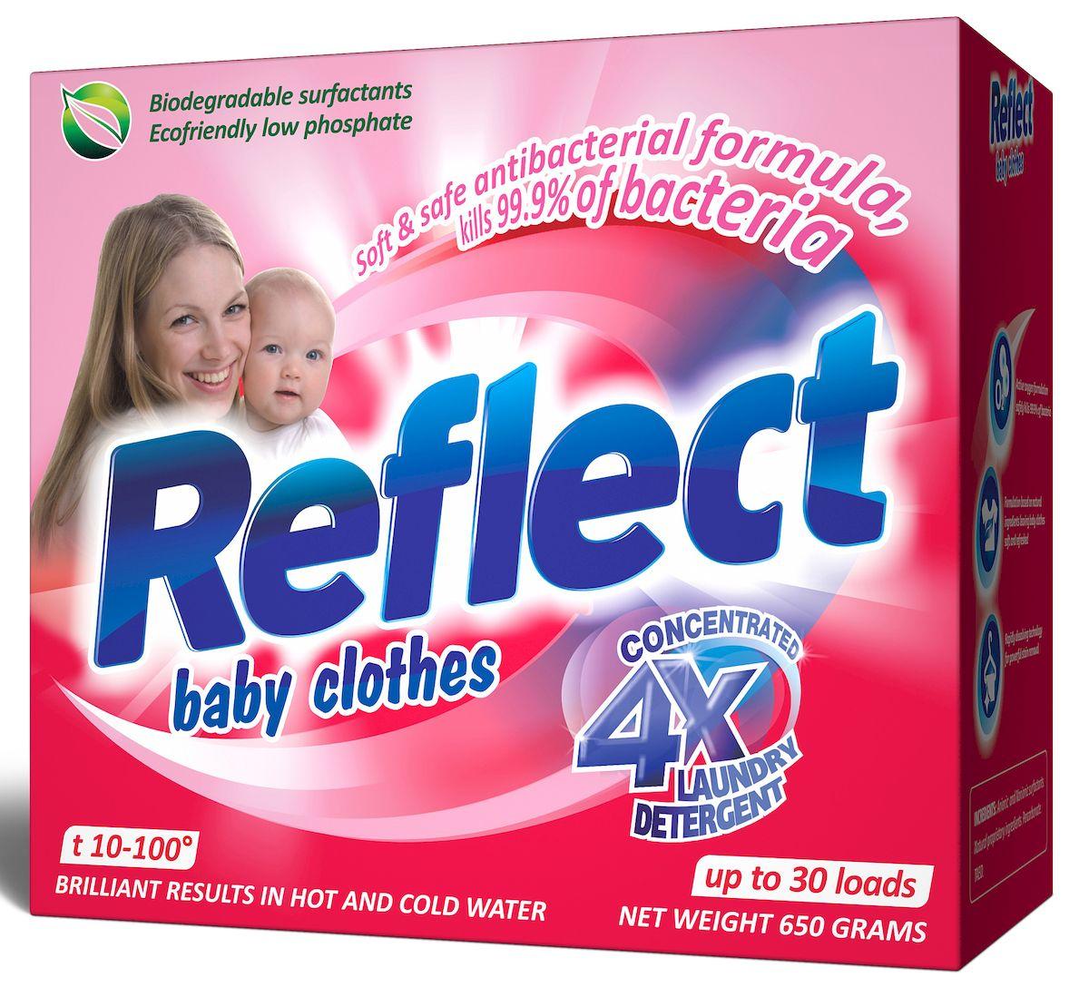 Стиральный порошок Reflect Baby Clothes, концентрированный, 650 г15040Reflect Baby Clothes - это концентрированный стиральный порошок для детского белья с первых дней жизни ребенка от 0 месяцев. На основе натурального мыла легко справляется со специфическими загрязнениями от жизнедеятельности ребенка. Стиральный порошок Reflect Baby Clothes: - отлично удаляет пятна (молоко, детское питание, каши, пюре, сок и т.д.); - гипоаллергенный, для людей с чувствительной кожей; - для всех типов ткани, включая шерсть; - от 10 до 100°С для белого и цветного белья, обновляет цвет, сохраняет структуру ткани; - экопродукт, полностью выполаскивается. Состав: 10-30% анионные и неионогенные ПАВ, < 5% натуральные запатентованные ингредиенты, 5-20% перкаборнат, < 5% TAED. Рекомендуем!