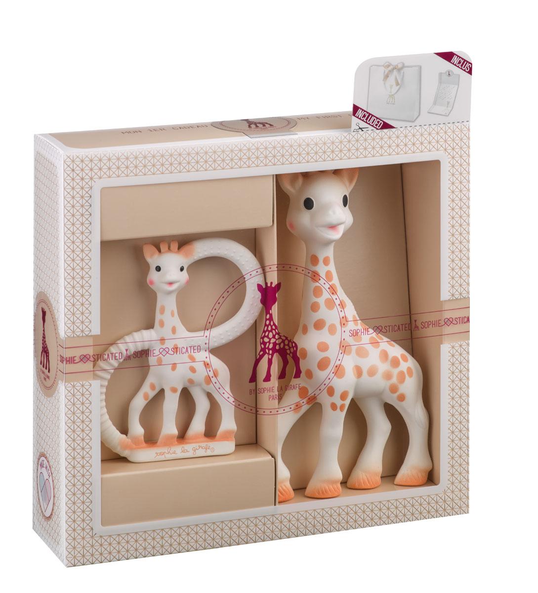 игровая фигурка vulli vulli прорезыватель жирафик софи Прорезыватель Sophie la girafe (Vulli) набор в подарочной упаковке бежевый