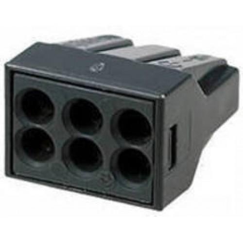 Клеммы строительно-монтажные Blox КБМ, с пастой, 6 x 2,5 мм2, 10 штЭТ.120020Строительно-монтажные клеммы Blox КБМ применяются для соединения и ответвления одножильных медных и алюминиевых проводов или многожильных медных проводов с наконечником в электрических цепях переменного тока напряжением до 380В с частотой 50 Гц. Контактная паста позволяет одновременное подключение алюминиевых и медных проводов и снимает оксидную пленку с алюминиевых проводов. Сечение: 2,5 мм2. Количество проводников: 6 Тип провода: медный одножильный провод; медный многожильный провод Контактные группы: однополярный