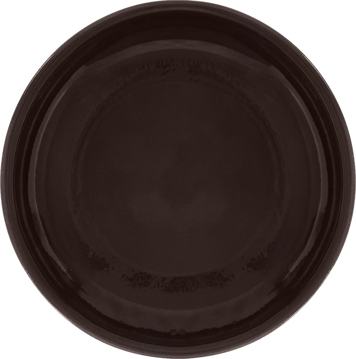 """Тарелка Борисовская керамика """"Старина"""", цвет: темно-коричневый, диаметр 18 см"""