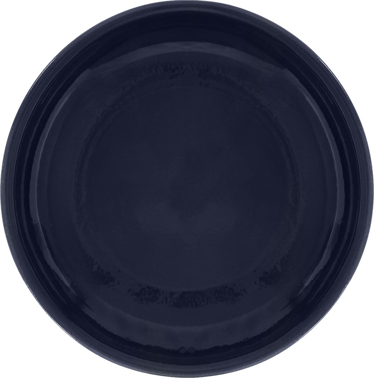 "Тарелка Борисовская керамика ""Радуга"", цвет: темно-синий, диаметр 18 см"