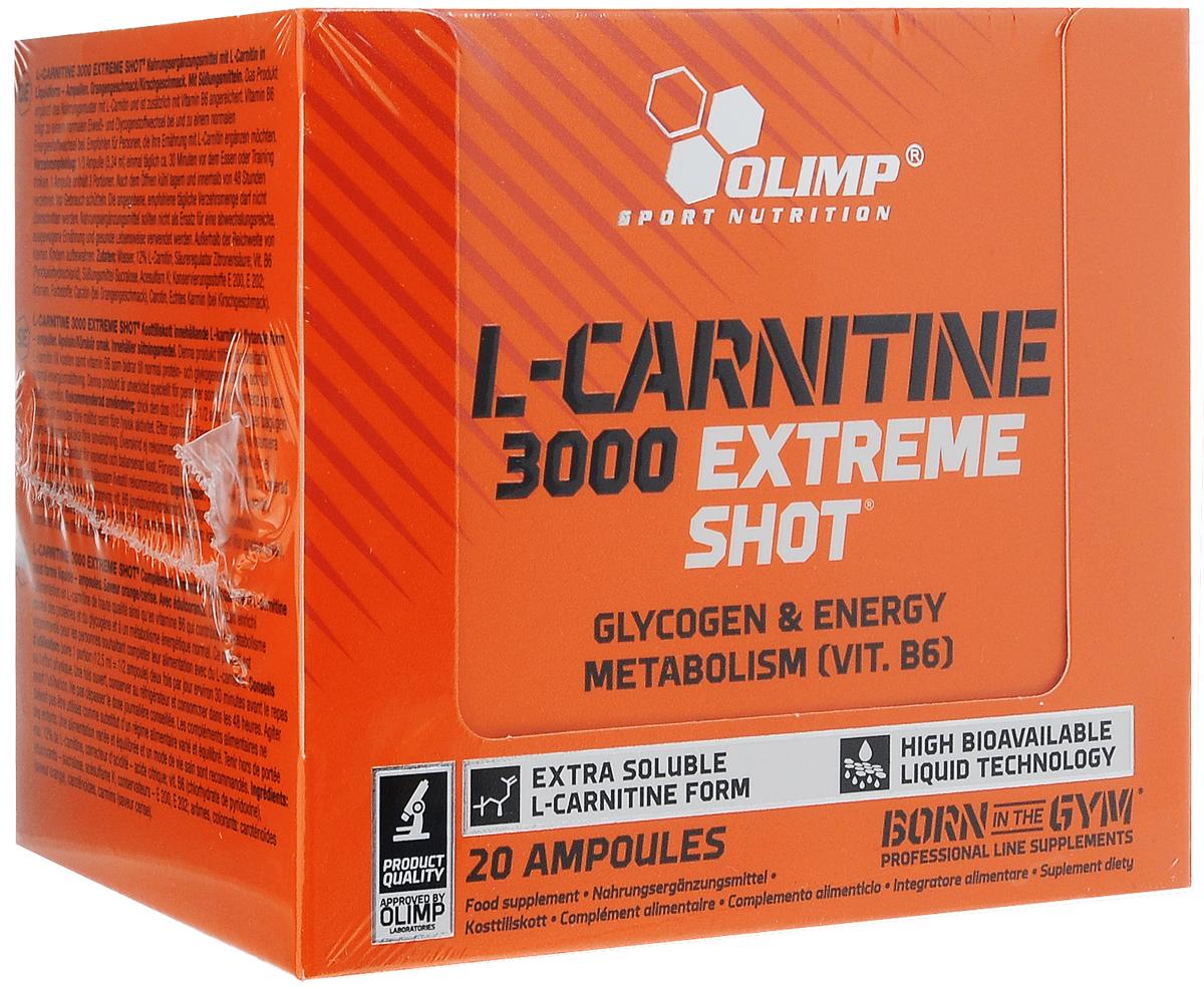 Карнитин Olimp Sport Nutrition L-Carnitine 3000 Extreme Shote, апельсин, 20 х 25 мг l карнитин sport technology nutrition l carnitine guarana 0 5 л