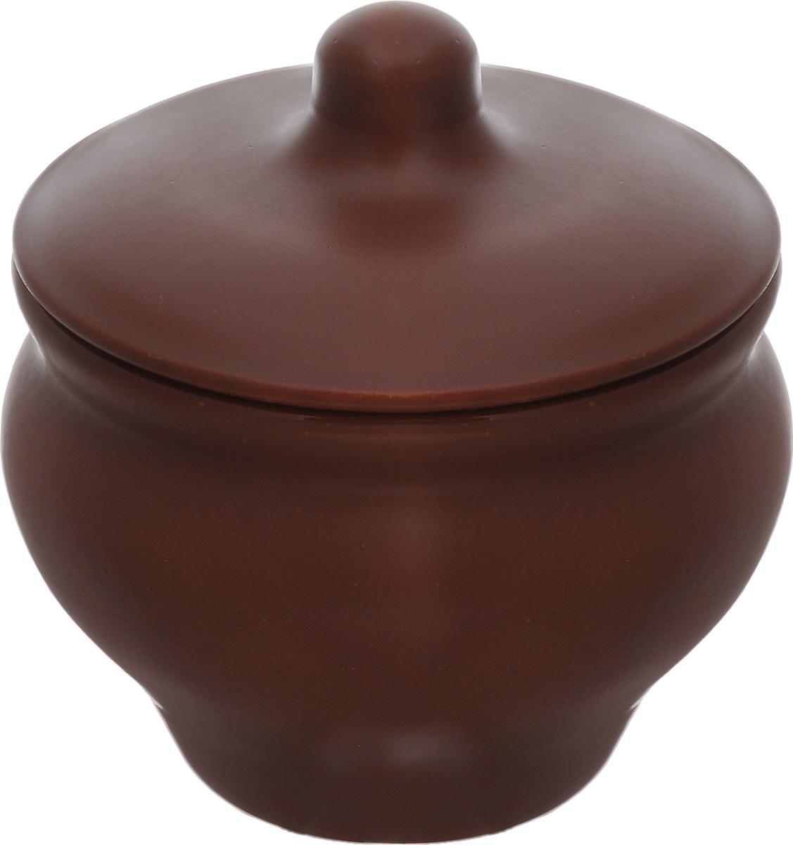 Горшочек для запекания Борисовская керамика Мечта хозяйки, цвет: коричневый, 350 мл горшочек для запекания борисовская керамика мечта хозяйки цвет зеленый розовый 350 мл