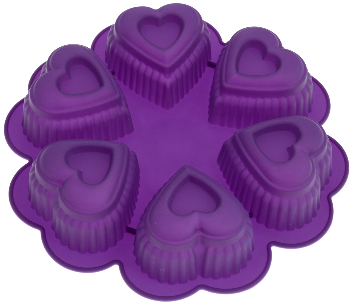 Форма для выпечки Marmiton Сердце, цвет: фиолетовый, 25,5 х 25,5 х 5 см, 6 ячеек набор форм для запекания marmiton 22 х 11 5 х 6 см 5 шт