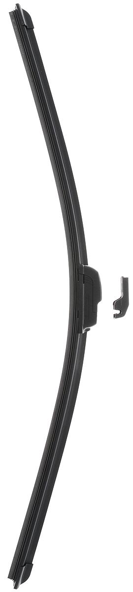 Щетка стеклоочистителя Wonderful, бескаркасная, с тефлоном, с 2 адаптерами, длина 60 см, 1 шт901879Бескаркасная универсальная щетка Wonderful, выполненная по современной технологии из высококачественных материалов, предназначена для установки на переднее стекло автомобиля. Направляющая шина, расположенная внутри чистящего полотна, равномерно распределяет прижимное усилие по всей длине, точно повторяя рельеф щетки, что обеспечивает наиболее полное очищение стекла за один проход. Отличается высоким качеством исполнения и оптимально подходит для замены оригинальных щеток, установленных на конвейере. Обеспечивает качественную очистку стекла в любую погоду. Изделие оснащено 2 адаптерами, которые превосходно подходят для наиболее распространенных типов креплений. Простой и быстрый монтаж. Рекомендуем!