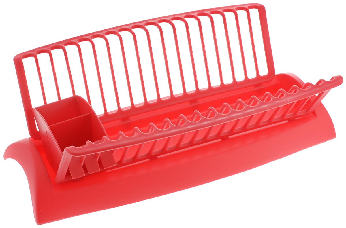 Сушилка для посуды Mayer & Boch, с поддоном, цвет: красный, 46 х 25 х 14 см сушилка для посуды gipfel eco 25 х 10 х 4 5 см