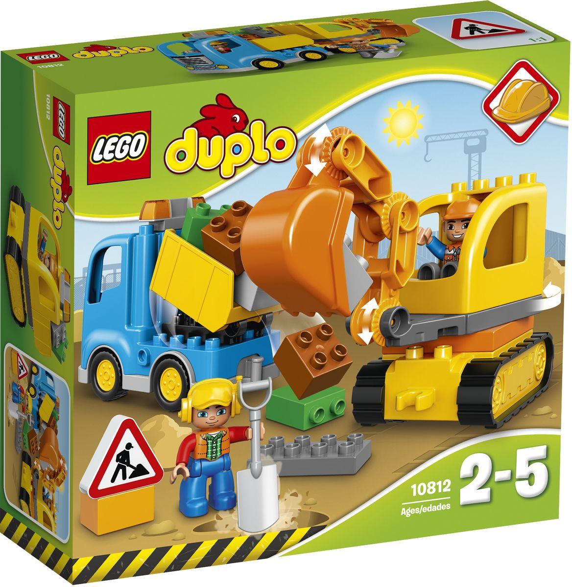 LEGO DUPLO 10812 Грузовик и гусеничный экскаватор Конструктор lego duplo 10812 конструктор лего дупло грузовик и гусеничный экскаватор