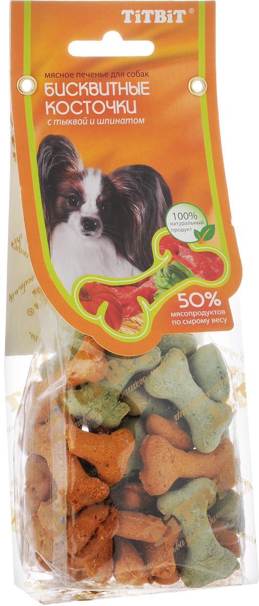 Лакомство для собак Titbit, бисквитные косточки с тыквой и шпинатом, 100 г цена
